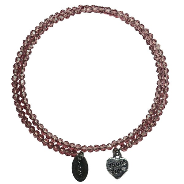 Pink Box Grape Wrap-around Bracelet with Heart Charm