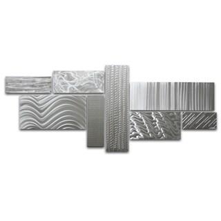 Modern Contemporary 'Crystallized Grid' Huge Metal Wall Sculpture Artwork