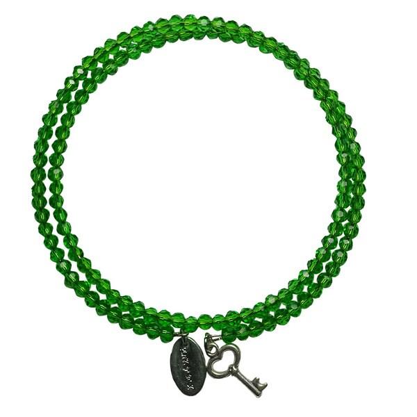 Pink Box Green Grass Wrap-around Bracelet with Key Charm