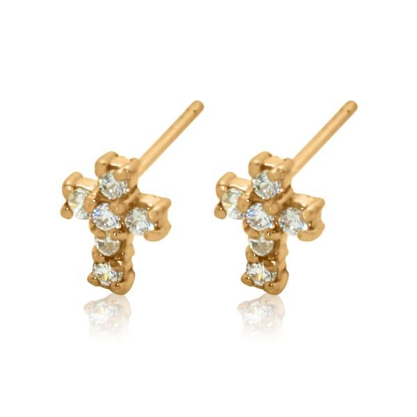 Gioelli 14k Yellow Gold Cubic Zirconia Cross Stud Earrings