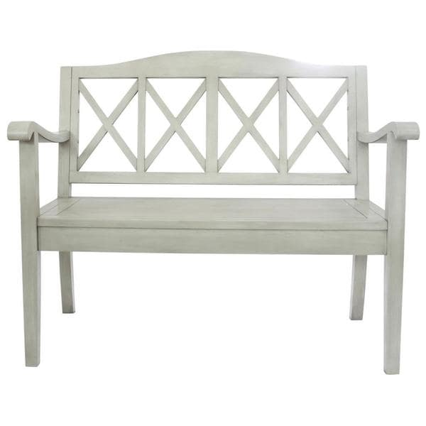 Canberra White Wood Bench with Arms