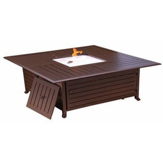 Phat Tommy Square Cast Aluminum Fire Pit in Hammered Bronze Finish with Lid