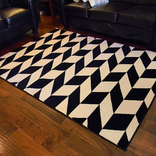 Sculpture-261 Geometric diamond shape tile pattern design 5'x7' Area Rug - Chocolate