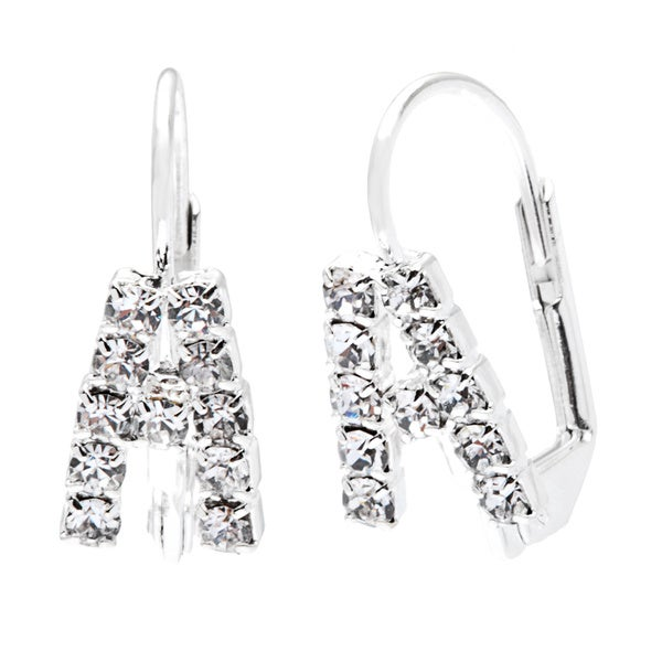 Detti Originals Crystal Silver Tone Initial Earrings