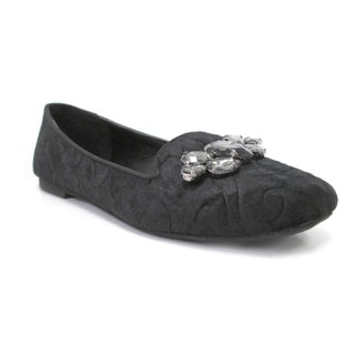 Olivia Miller Women's 'Katie' Black Embellished Smoking Flats