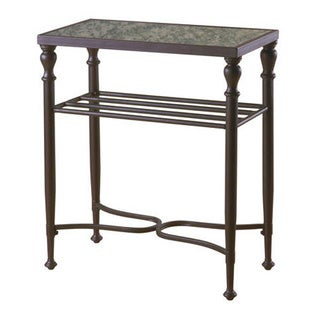 Emerald Metal Antique Mirror Chair Side Table