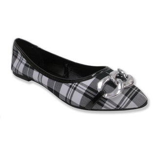 Olivia Miller Women's 'Claire' Black and White Plaid Pointy Toe Ballet Flats