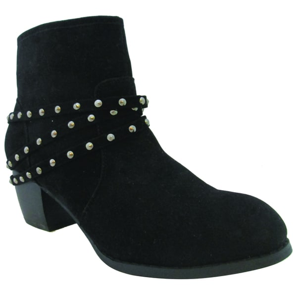 Olivia Miller Women's 'Roxy' Black Stacked-heel Ankle Boots