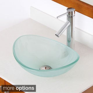 ELITE 1416+2659 Unique Oval Frosted Tempered Glass Bathroom Vessel Sink With Faucet Combo