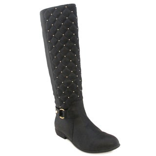 Olivia Miller Women's 'Elisa' Black Quilted Riding Boots