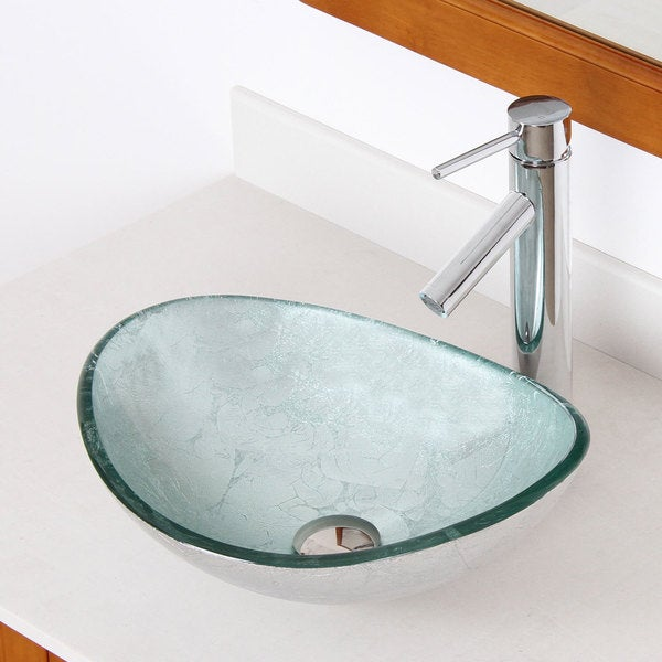 +2659 Unique Oval Artistic Silver Tempered Glass Bathroom Vessel Sink ...