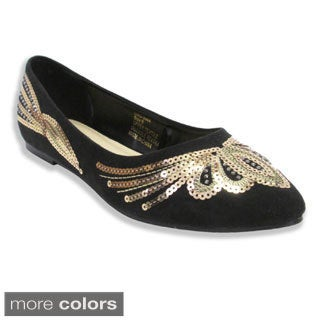 Olivia Miller Women's 'Eva' Sequined Pointy Toe Ballet Flats