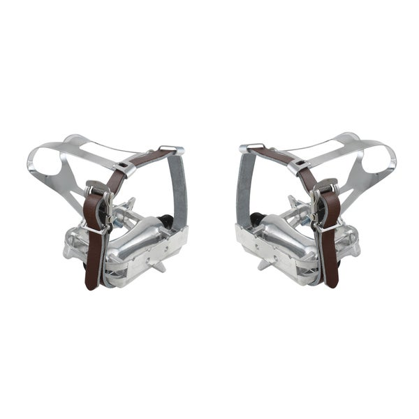 M-Wave Steel Bike Toe Clips with Brown Leather Straps