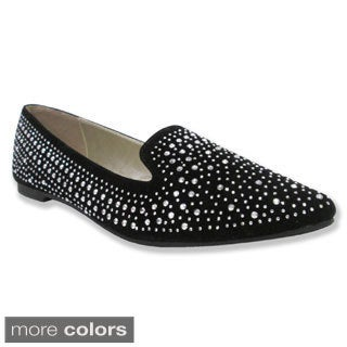 Olivia Miller Women's 'Anabelle' Rhinestone Pointy Toe Ballet Flats