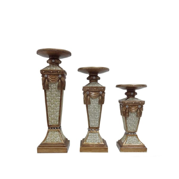 D'Lusso Designs Drape Collection 3-piece Hurricane Candle Set