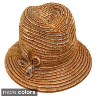 Swan Women's Velvet Ribbon Crusher Fedora Hat