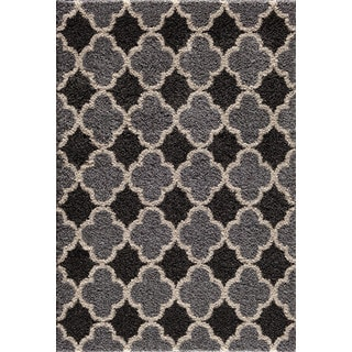 Christopher Knight Home Tacoma Hybrid Quadrant Two-tone Silver/ Black Area Rug (7'10 x 9'10)