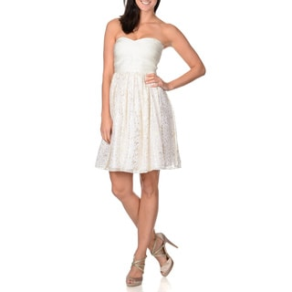 Erin Featherston Women's White Strapless Fit and Flare Party Dress