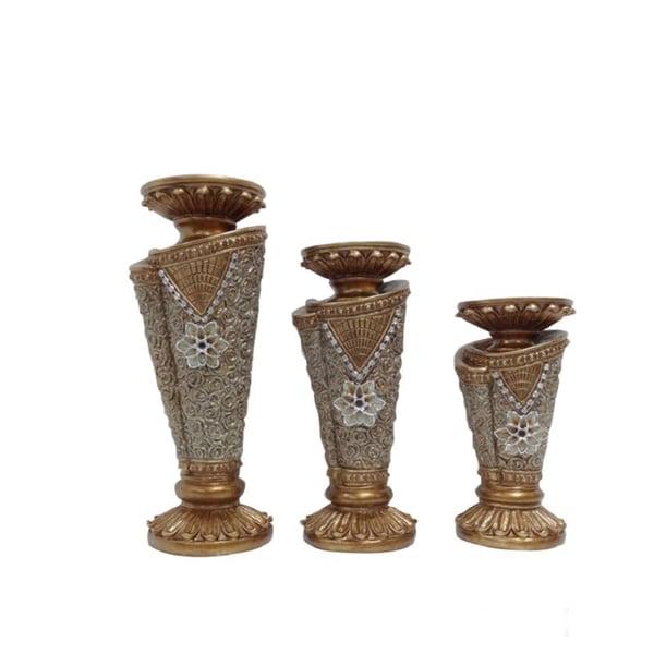 D'Lusso Designs Flower Collection 3-piece Hurricane Candle Set