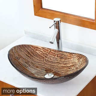 Elite 'Hot Melt' Tempered Glass Vessel Sink and Faucet Combo