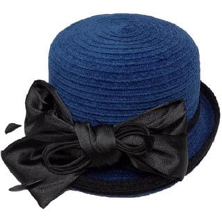 Swan Women's Royal Blue Chenille Ribbon Hat with Black Satin Bow