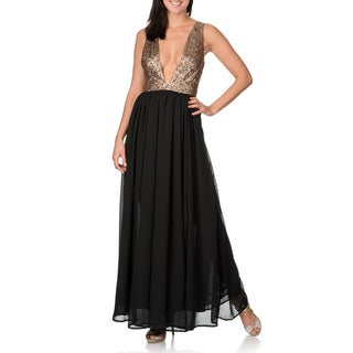 Olivacous Women's Black and Brown Plunging-V Sequined Bodice Gown