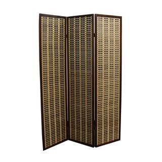 """70.25""""H Bamboo 3-Panel Room Divider - Dark Walnut"""