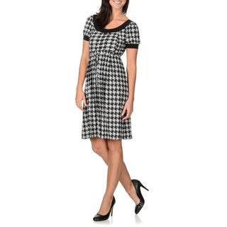 London Times Women's Houndstooth Baby Doll Dress