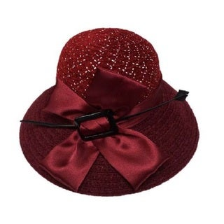 Swan Women's Burgundy Chenille Ribbon Hat