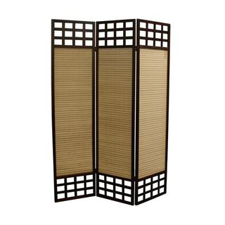 "70.25""H Window Pane Bamboo 3 Panel Room Divider - Dark Walnut"