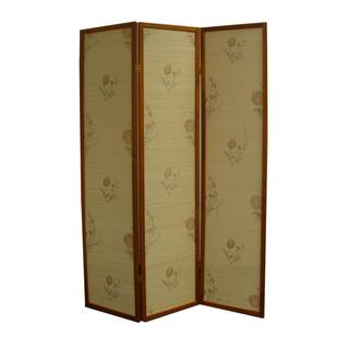 "70.25""H Floral Bamboo 3 Panel Room Divider - Honey"