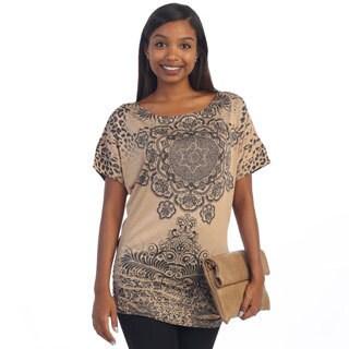 Hadari Women's Brown Mandala Pattern Blouse