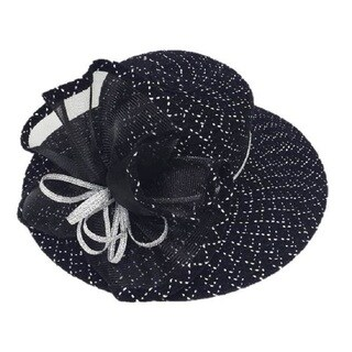 Swan Women's 'Check' Black/ White Boucle Chenille Ribbon Hat with Crinalin Bow