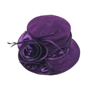 Swan Women's Velvet Satin Flower Packable Hat