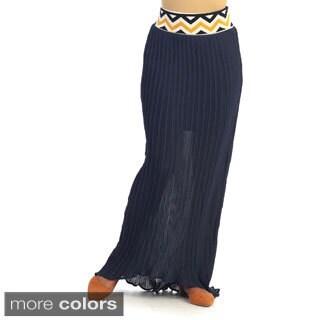 Hadari Women's Chevron Waist Maxi Skirt