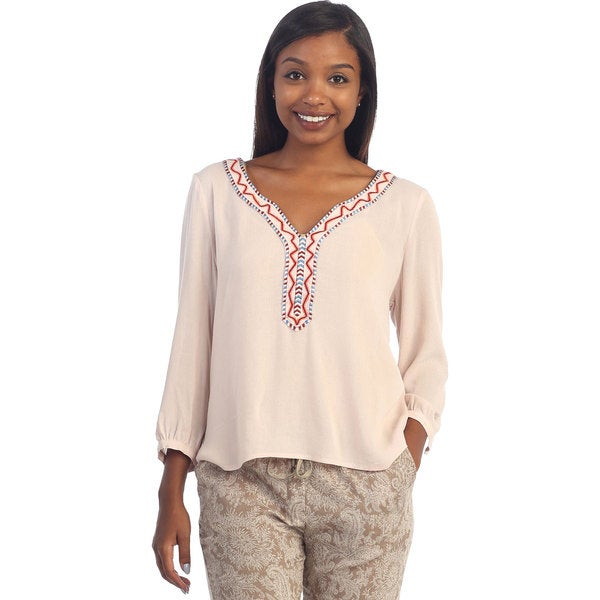 Hadari Womens V-neck Long Sleeve Top