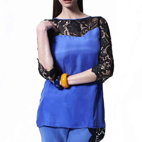 Mossee Women's 'Wonder' Blue Lace-yoke Top
