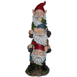 Cast Stone Resin Gnomes (Set of 3)