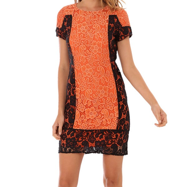 Women's Orange Front Panel Dress