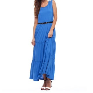 Mossee Women's Blue Silk Layered Maxi Dress