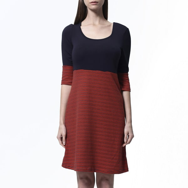 Women's Red and Navy Silk 2fer Dress