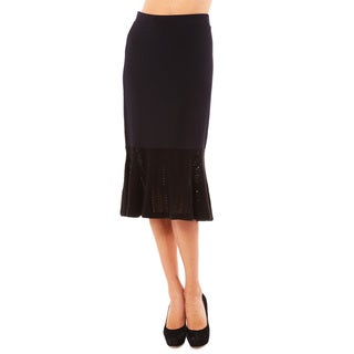 Women's Black Ruffle Hem Skirt