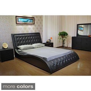 California King Wave-like Shape Upholstered Bed