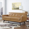 Engage Tan Leather Loveseat