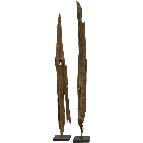 Aurelle Home Teak Driftwood Polished Marble Art