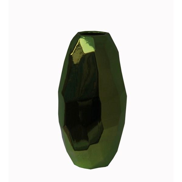 Large Metallic Green Ceramic Vase