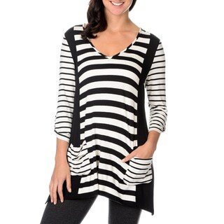 Chelsea & Theodore Womens Striped Button Tab Top