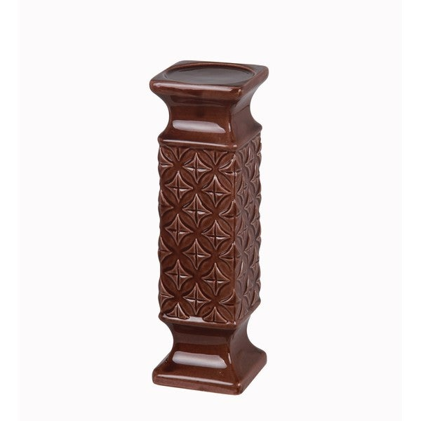 Large Ceramic Brown Candle Holder