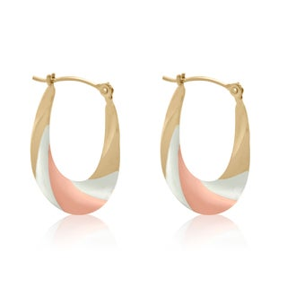 Gioelli 10k Tri-tone Gold Twisted Hollow Hoop Earrings