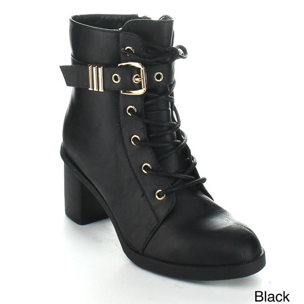 Forever Women's 'Gemma-7' Lace-up Ankle Booties with Adjustable Ankle Strap